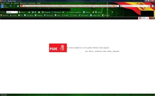 Error web del PSOE